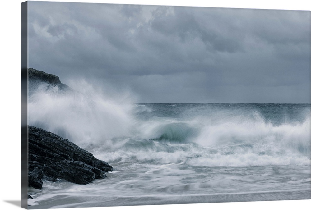 Large Solid-Faced Canvas Print Wall Art Print 30 x 20 entitled Surf Time Solid-Faced Canvas Print entitled Surf Time.  Crashing waves on a stormy Scottish beach.  Multiple sizes available.  Primary colors within this image include Black, Light Gray.  Made in the USA.  Satisfaction guaranteed.  Inks used are latex-based and designed to last.  Featuring a proprietary design, our canvases produce the tightest corners without any bubbles, ripples, or bumps and will not warp or sag over time.  Archival inks prevent fading and preserve as much fine detail as possible with no over-saturation or color shifting.