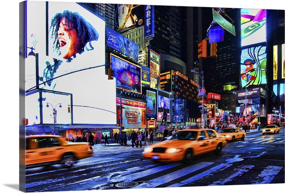 Large Solid-Faced Canvas Print Wall Art Print 30 x 20 entitled Times Square, Manhattan, New York City Solid-Faced Canvas Print entitled Times Square, Manhattan, New York City.  Busy shot of Times Square, New York City. HDr of two shots, motion blur.  Multiple sizes available.  Primary colors within this image include Blue, Plum, Black, Pale Blue.  Made in the USA.  Satisfaction guaranteed.  Archival-quality UV-resistant inks.  Canvas depth is 1.25 and includes a finished backing with pre-installed hanging hardware.  Canvas is handcrafted and made-to-order in the United States using high quality artist-grade canvas.