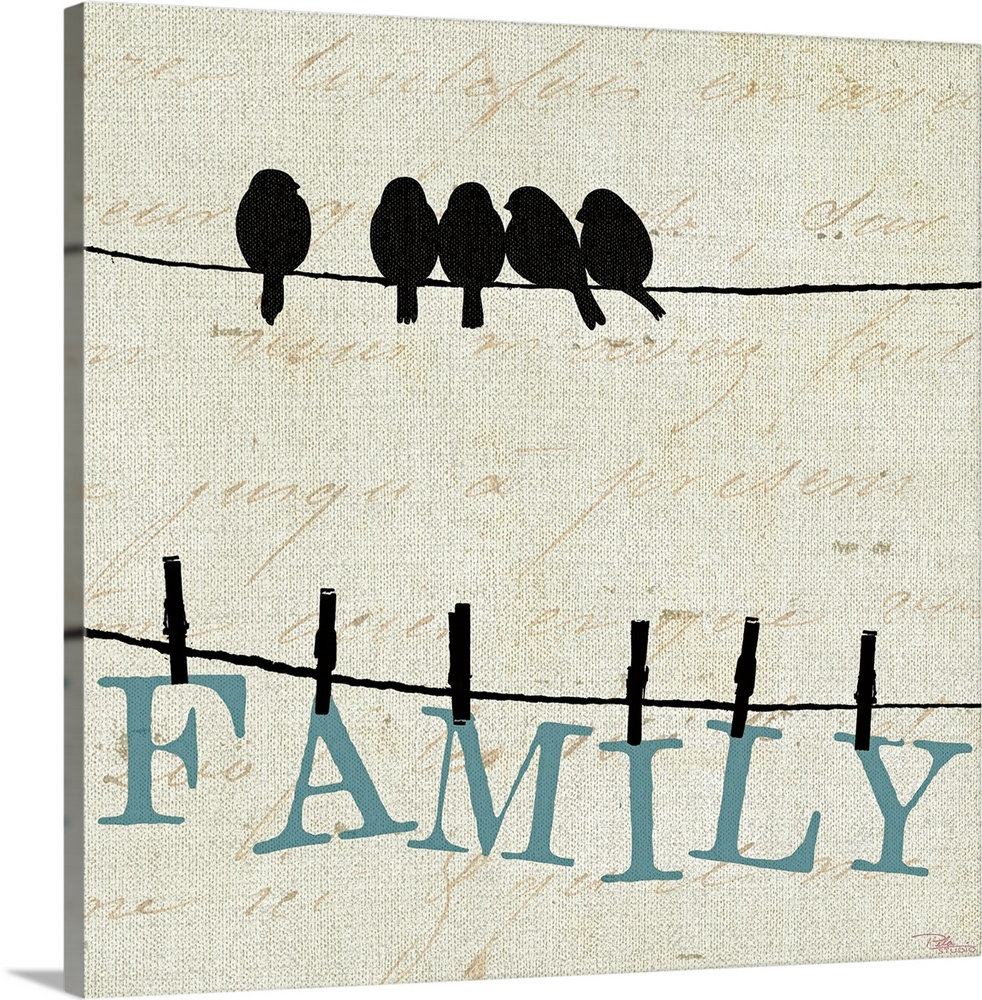 Large Gallery-Wrapped Canvas Wall Art Print 16 x 16 entitled Bird Talk III Gallery-Wrapped Canvas entitled Bird Talk III.  Contemporary artwork of birds on a wire with the letters to spell out FAMILY clothes pinned to another wire below them.  There is also light cursive text in the background. .  Multiple sizes available.  Primary colors within this image include Black, White, Light Gray Blue.  Made in USA.  All products come with a 365 day workmanship guarantee.  Archival-quality UV-resistant inks.  Canvases are stretched across a 1.5 inch thick wooden frame with easy-to-mount hanging hardware.  Canvas is acid-free and 20 millimeters thick.