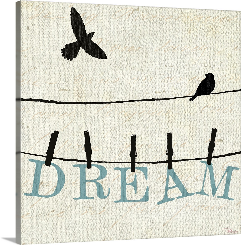 Large Gallery-Wrapped Canvas Wall Art Print 16 x 16 entitled Bird Talk IV Gallery-Wrapped Canvas entitled Bird Talk IV.  A bird flies through the air while another perches itself on a wire. On another wire just below it is the word dream that is held up by clothes pins.  Multiple sizes available.  Primary colors within this image include Black, White.  Made in the USA.  Satisfaction guaranteed.  Inks used are latex-based and designed to last.  Canvas frames are built with farmed or reclaimed domestic pine or poplar wood.  Canvas is designed to prevent fading.