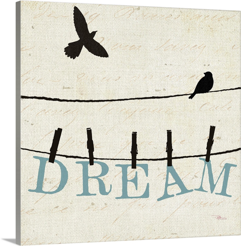 Large Solid-Faced Canvas Print Wall Art Print 20 x 20 entitled Bird Talk IV Solid-Faced Canvas Print entitled Bird Talk IV.  Contemporary artwork of two birds silhouetted on a cloths line, with the word Dream hanging from the line underneath them.  Multiple sizes available.  Primary colors within this image include Black, White, Light Gray Blue.  Made in USA.  Satisfaction guaranteed.  Inks used are latex-based and designed to last.  Archival inks prevent fading and preserve as much fine detail as possible with no over-saturation or color shifting.  Featuring a proprietary design, our canvases produce the tightest corners without any bubbles, ripples, or bumps and will not warp or sag over time.