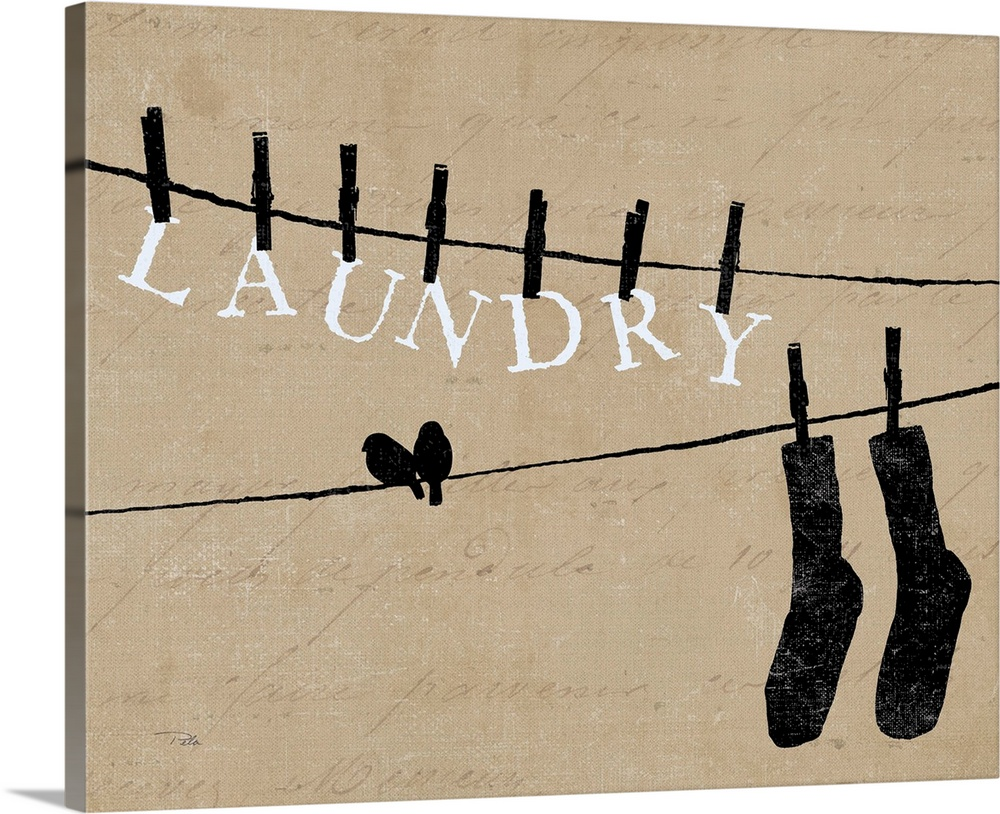 Large Solid-Faced Canvas Print Wall Art Print 30 x 24 entitled Birds on a Wire - Laundry Solid-Faced Canvas Print entitled Birds on a Wire - Laundry.  Contemporary artwork of silhouetted birds on cloths lines, with words and a pair of socks hanging from cloths pins.  Multiple sizes available.  Primary colors within this image include Black, Light Gray.  Made in USA.  All products come with a 365 day workmanship guarantee.  Archival-quality UV-resistant inks.  Archival inks prevent fading and preserve as much fine detail as possible with no over-saturation or color shifting.  Canvas is handcrafted and made-to-order in the United States using high quality artist-grade canvas.
