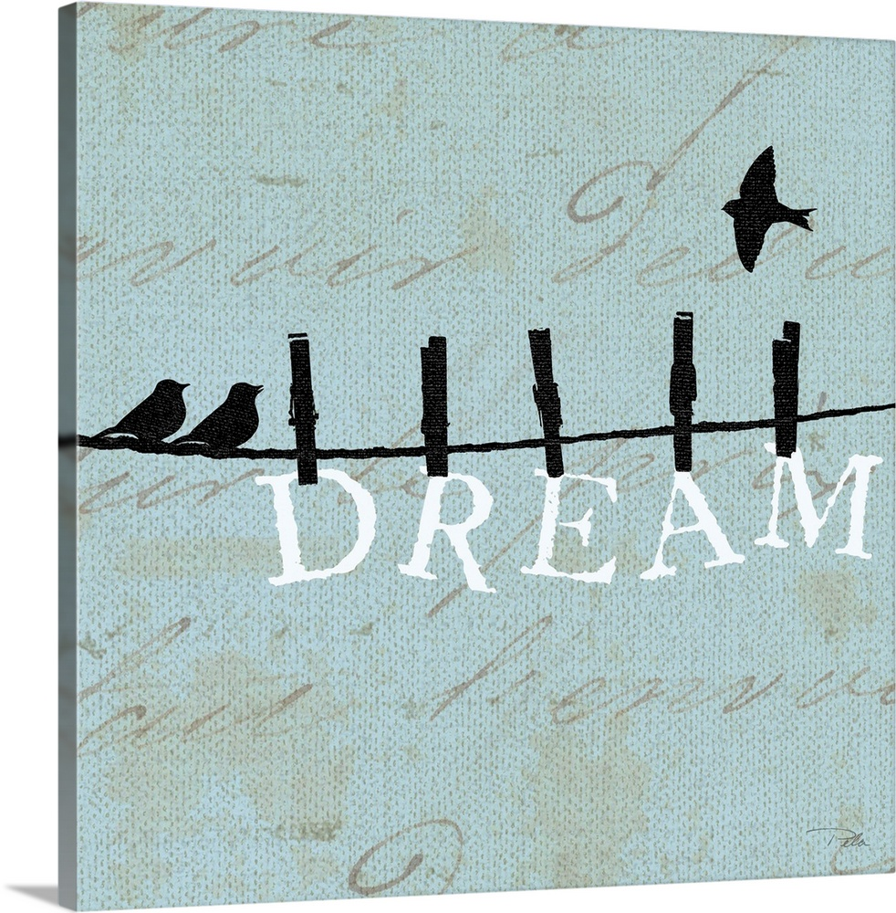 Large Gallery-Wrapped Canvas Wall Art Print 16 x 16 entitled Birds on a Wire Square - Dream Gallery-Wrapped Canvas entitled Birds on a Wire Square - Dream.  Contemporary artwork of birds silhouetted on a cloths line with the word DREAM hanging from the line underneath them.  Multiple sizes available.  Primary colors within this image include Black Silver.  Made in the USA.  Satisfaction guaranteed.  Inks used are latex-based and designed to last.  Museum-quality artist-grade canvas mounted on sturdy wooden stretcher bars 1.5 thick.  Comes ready to hang.  Canvases have a UVB protection built in to protect against fading and moisture and are designed to last for over 100 years.