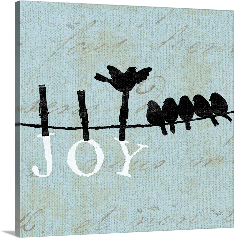 Large Solid-Faced Canvas Print Wall Art Print 20 x 20 entitled Birds on a Wire Square - Joy Solid-Faced Canvas Print entitled Birds on a Wire Square - Joy.  Contemporary artwork of birds silhouetted on a cloths line, with the word JOY hanging from the line underneath them.  Multiple sizes available.  Primary colors within this image include Black, Gray, White.  Made in the USA.  All products come with a 365 day workmanship guarantee.  Archival-quality UV-resistant inks.  Archival inks prevent fading and preserve as much fine detail as possible with no over-saturation or color shifting.  Canvas depth is 1.25 and includes a finished backing with pre-installed hanging hardware.