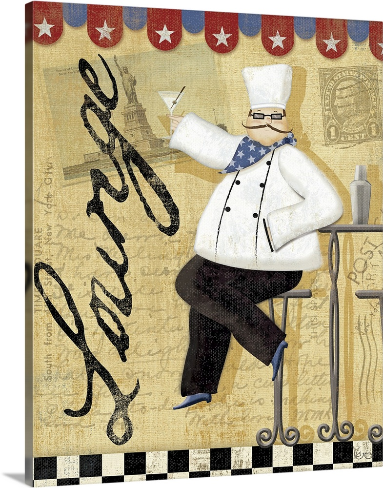Large Gallery-Wrapped Canvas Wall Art Print 16 x 20 entitled Chef's Break  II Gallery-Wrapped Canvas entitled Chefs Break  II .  Canvas painting of a chef sitting in a chair holding a wine glass in a restaurant.  Multiple sizes available.  Primary colors within this image include Dark Red, Peach, Black, Gray.  Made in the USA.  Satisfaction guaranteed.  Inks used are latex-based and designed to last.  Museum-quality, artist-grade canvas mounted on sturdy wooden stretcher bars 1.5 thick.  Comes ready to hang.  Canvas is acid-free and 20 millimeters thick.