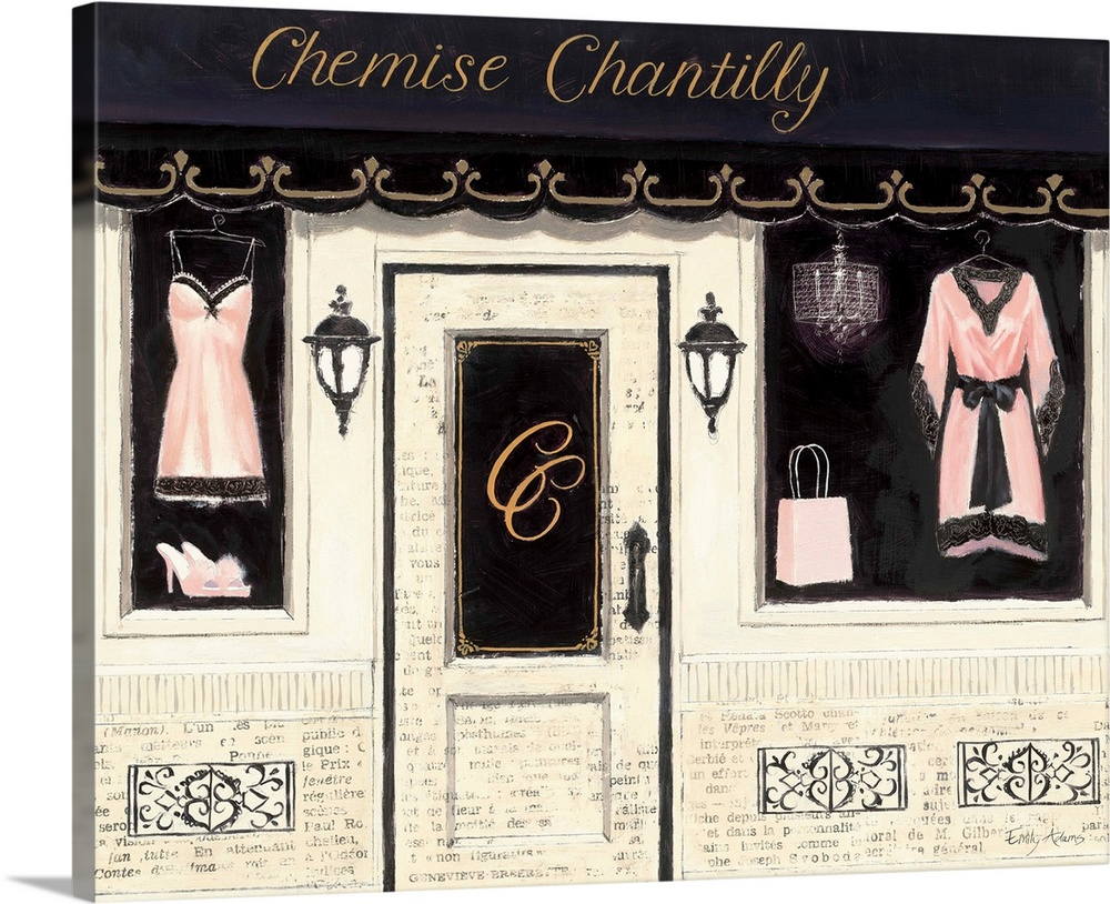 Large Solid-Faced Canvas Print Wall Art Print 30 x 24 entitled Chemise Chantilly Solid-Faced Canvas Print entitled Chemise Chantilly.  Contemporary artwork of a store front window, displaying lingerie.  Multiple sizes available.  Primary colors within this image include Dark Gray, Gray, White.  Made in the USA.  Satisfaction guaranteed.  Inks used are latex-based and designed to last.  Canvas is handcrafted and made-to-order in the United States using high quality artist-grade canvas.  Featuring a proprietary design, our canvases produce the tightest corners without any bubbles, ripples, or bumps and will not warp or sag over time.