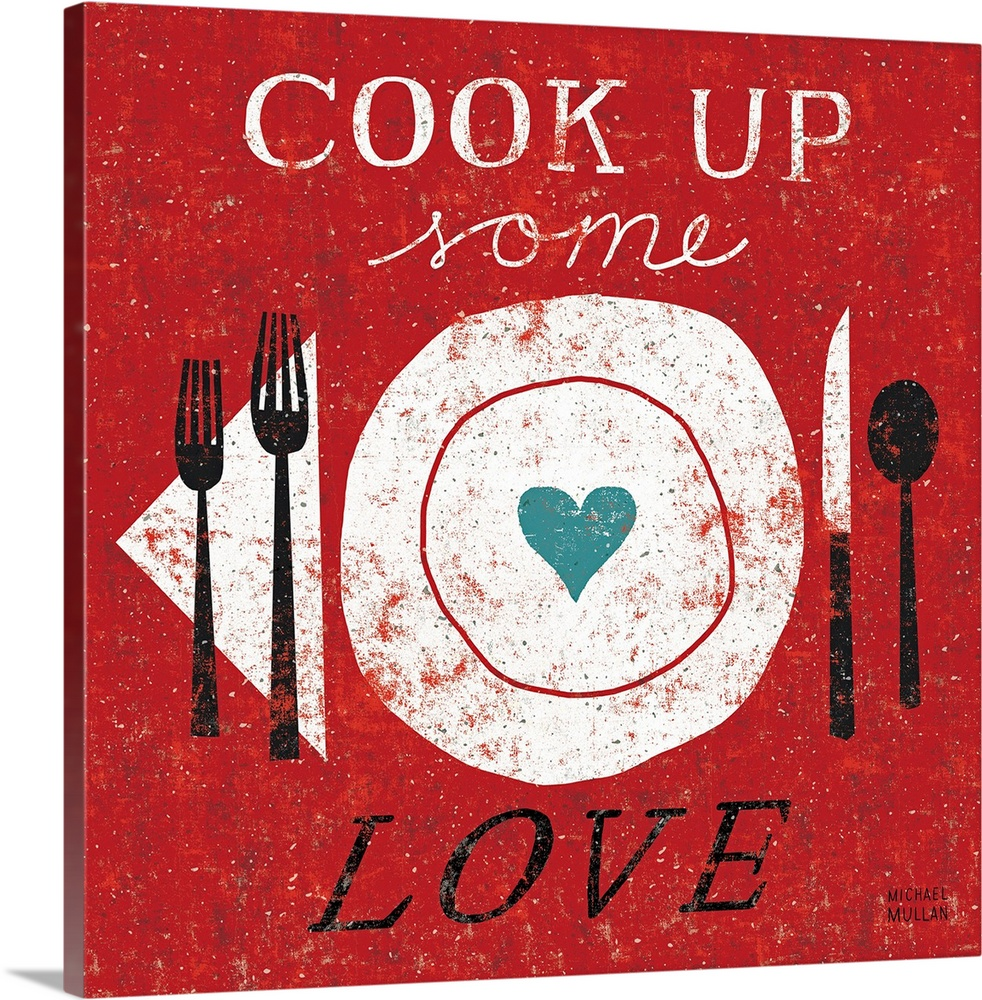 Large Solid-Faced Canvas Print Wall Art Print 20 x 20 entitled Cook Up Love Solid-Faced Canvas Print entitled Cook Up Love.  Multiple sizes available.  Primary colors within this image include Dark Red, Dark Gray, White, Light Gray Blue.  Made in the USA.  All products come with a 365 day workmanship guarantee.  Archival-quality UV-resistant inks.  Archival inks prevent fading and preserve as much fine detail as possible with no over-saturation or color shifting.  Canvas depth is 1.25 and includes a finished backing with pre-installed hanging hardware.