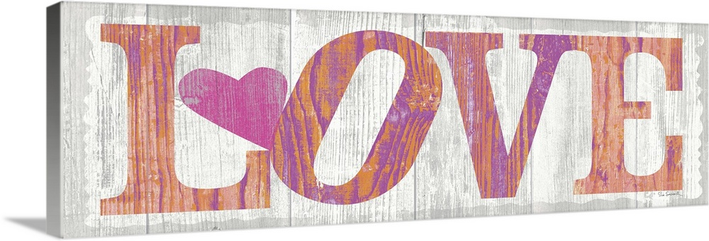 Large Solid-Faced Canvas Print Wall Art Print 48 x 16 entitled Driftwood Love Solid-Faced Canvas Print entitled Driftwood Love.  Multiple sizes available.  Primary colors within this image include Peach, Light Purple, Black, White.  Made in USA.  All products come with a 365 day workmanship guarantee.  Inks used are latex-based and designed to last.  Canvas is handcrafted and made-to-order in the United States using high quality artist-grade canvas.  Canvas depth is 1.25 and includes a finished backing with pre-installed hanging hardware.