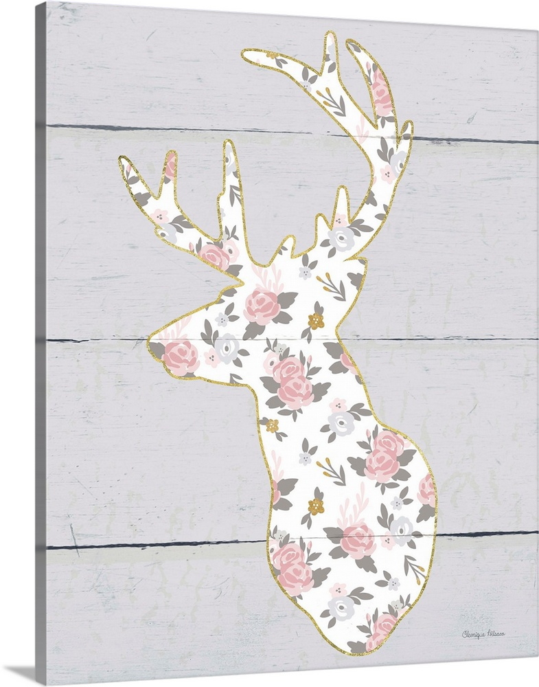 Solid-Faced Canvas Print Wall Art entitled Floral Deer II