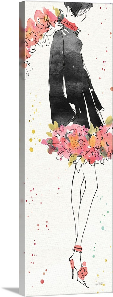 Large Gallery-Wrapped Canvas Wall Art Print 14 x 36 entitled Floral Fashion IV Gallery-Wrapped Canvas entitled Floral Fashion IV.  Watercolor painting of a woman in a black coat with a floral scarf and skirt.  Multiple sizes available.  Primary colors within this image include Peach Light Purple Dark Gray White.  Made in the USA.  All products come with a 365 day workmanship guarantee.  Inks used are latex-based and designed to last.  Canvas is designed to prevent fading.  Canvas is a 65 polyester 35 cotton base with two acrylic latex primer basecoats and a semi-gloss inkjet receptive topcoat.