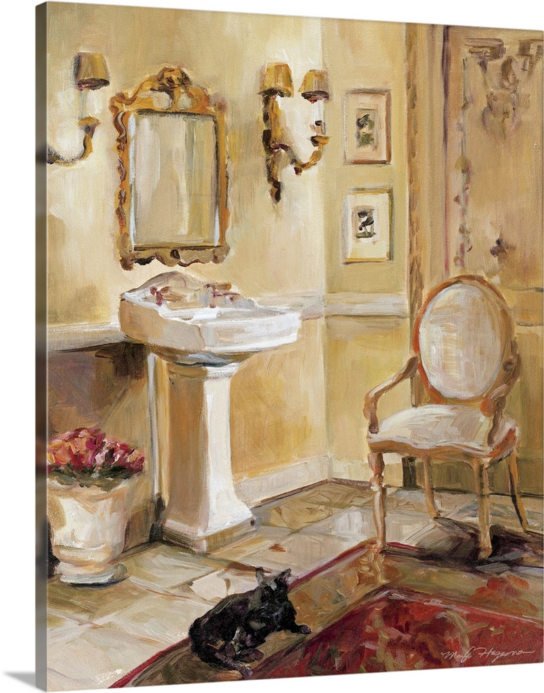 Large Gallery-Wrapped Canvas Wall Art Print 16 x 20 entitled French Bath II Gallery-Wrapped Canvas entitled French Bath II.  Docor perfect for the home of a painted French bathroom with an antique vanity mirror above the sink along with a single chair by the door. A black cat lays on the floor.  Multiple sizes available.  Primary colors within this image include Peach, Dark Gray.  Made in the USA.  All products come with a 365 day workmanship guarantee.  Inks used are latex-based and designed to last.  Canvases are stretched across a 1.5 inch thick wooden frame with easy-to-mount hanging hardware.  Canvas frames are built with farmed or reclaimed domestic pine or poplar wood.