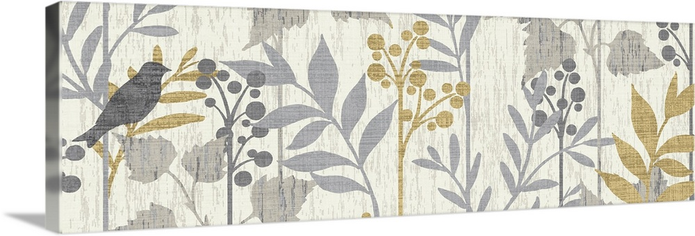 Large Solid-Faced Canvas Print Wall Art Print 48 x 16 entitled Garden Leaves Panel I Solid-Faced Canvas Print entitled Garden Leaves Panel I.  Artwork perfect for the home that has a bird skewed to the left side of the panoramic piece and branches with leaves and berries to the right.  Multiple sizes available.  Primary colors within this image include Black, Gray, White.  Made in USA.  Satisfaction guaranteed.  Archival-quality UV-resistant inks.  Canvas is handcrafted and made-to-order in the United States using high quality artist-grade canvas.  Archival inks prevent fading and preserve as much fine detail as possible with no over-saturation or color shifting.