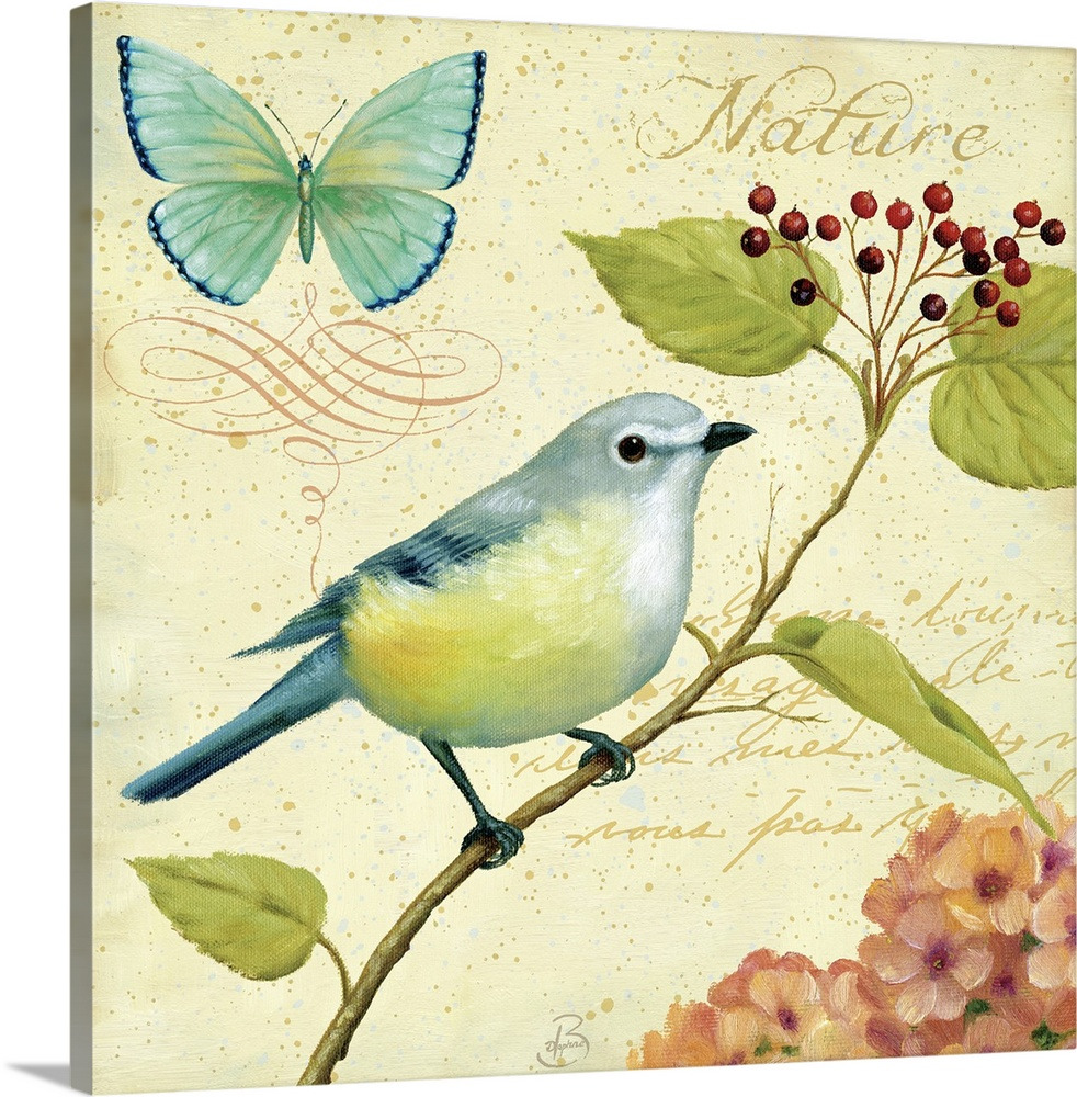 Large Solid-Faced Canvas Print Wall Art Print 20 x 20 entitled Garden Passion III Solid-Faced Canvas Print entitled Garden Passion III.  Home docor art piece of a bird sitting on a single berry branch with a butterfly and hydrangea plant surrounding the sides.  Multiple sizes available.  Primary colors within this image include Dark Yellow, White, Gray Blue, Dark Navy Blue.  Made in the USA.  Satisfaction guaranteed.  Archival-quality UV-resistant inks.  Featuring a proprietary design, our canvases produce the tightest corners without any bubbles, ripples, or bumps and will not warp or sag over time.  Canvas is handcrafted and made-to-order in the United States using high quality artist-grade canvas.