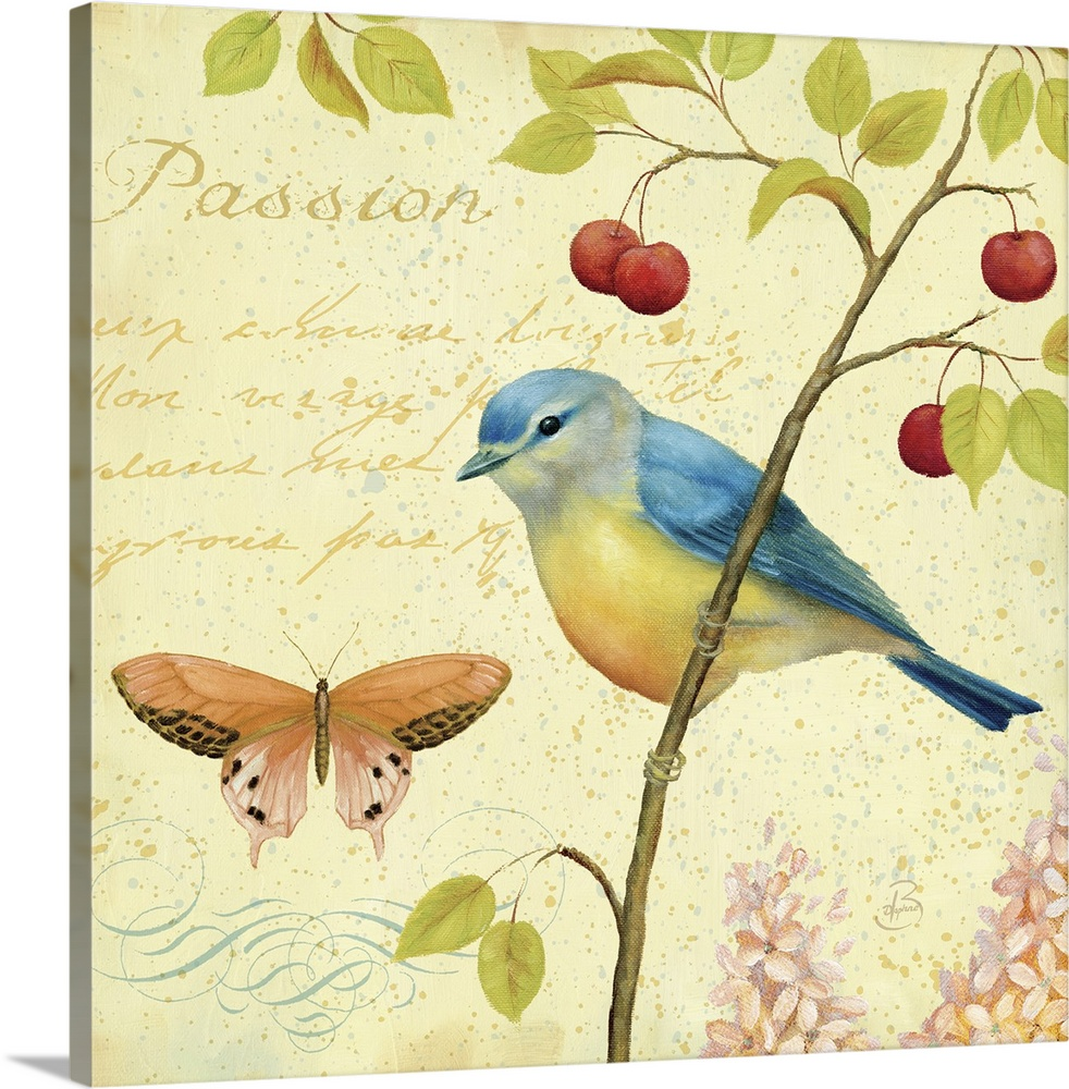 Large Solid-Faced Canvas Print Wall Art Print 20 x 20 entitled Garden Passion IV Solid-Faced Canvas Print entitled Garden Passion IV.  Square home art decor on a large canvas of a bird perched on a thin branch of leaves and berries, next to a butterfly with scripted text above it, the headline read Passion.  On a spotty, golden background.  Multiple sizes available.  Primary colors within this image include Dark Red, Dark Yellow, Gray, White.  Made in the USA.  Satisfaction guaranteed.  Inks used are latex-based and designed to last.  Archival inks prevent fading and preserve as much fine detail as possible with no over-saturation or color shifting.  Featuring a proprietary design, our canvases produce the tightest corners without any bubbles, ripples, or bumps and will not warp or sag over time.