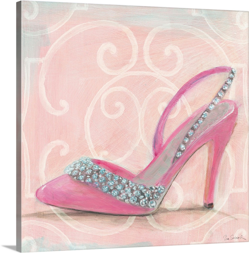 Large Solid-Faced Canvas Print Wall Art Print 20 x 20 entitled In the Pink II Solid-Faced Canvas Print entitled In the Pink II.  Contemporary artwork of high heel shoe in profile, against a decorative pink background.  Multiple sizes available.  Primary colors within this image include Light Purple, Black, Silver.  Made in the USA.  All products come with a 365 day workmanship guarantee.  Inks used are latex-based and designed to last.  Archival inks prevent fading and preserve as much fine detail as possible with no over-saturation or color shifting.  Featuring a proprietary design, our canvases produce the tightest corners without any bubbles, ripples, or bumps and will not warp or sag over time.