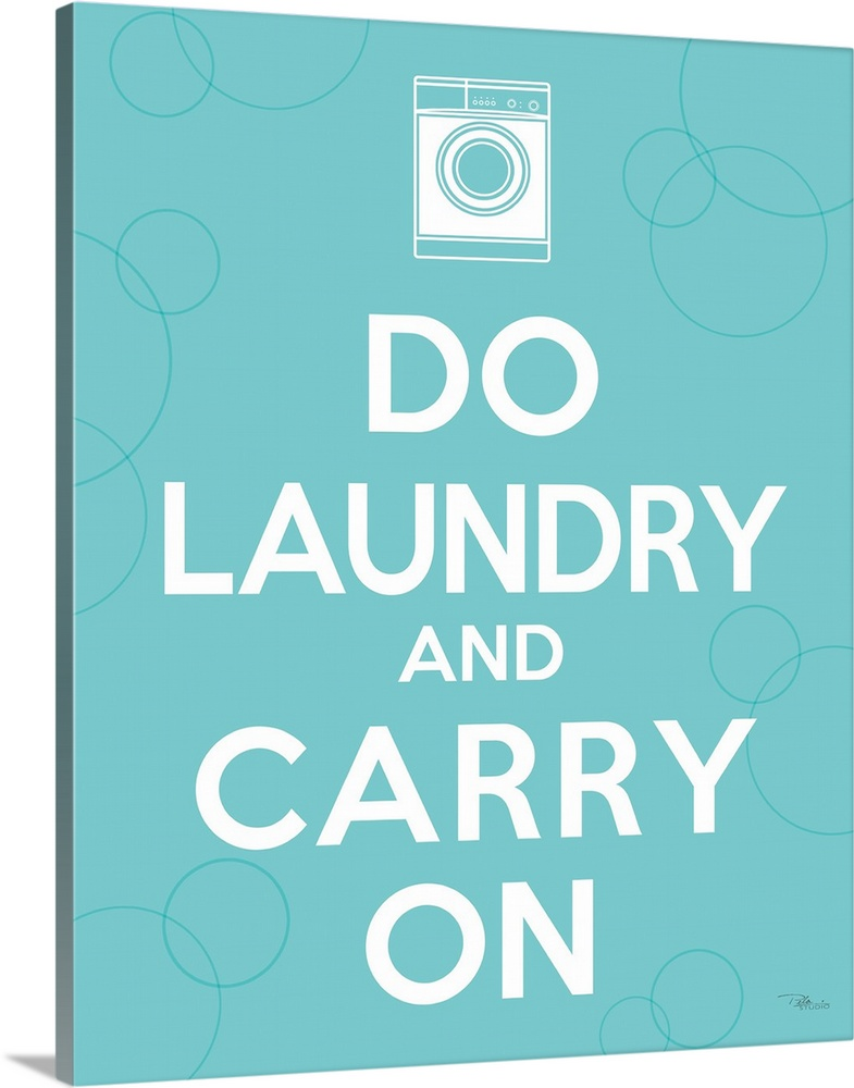 Large Solid-Faced Canvas Print Wall Art Print 24 x 30 entitled Laundry On I Solid-Faced Canvas Print entitled Laundry On I.  Vertical, big print of white text reading Do laundry and carry on, a small white illustration of a washing machine above the text, on a solid background.  Multiple sizes available.  Primary colors within this image include Black, White.  Made in the USA.  All products come with a 365 day workmanship guarantee.  Archival-quality UV-resistant inks.  Canvas is handcrafted and made-to-order in the United States using high quality artist-grade canvas.  Canvas depth is 1.25 and includes a finished backing with pre-installed hanging hardware.