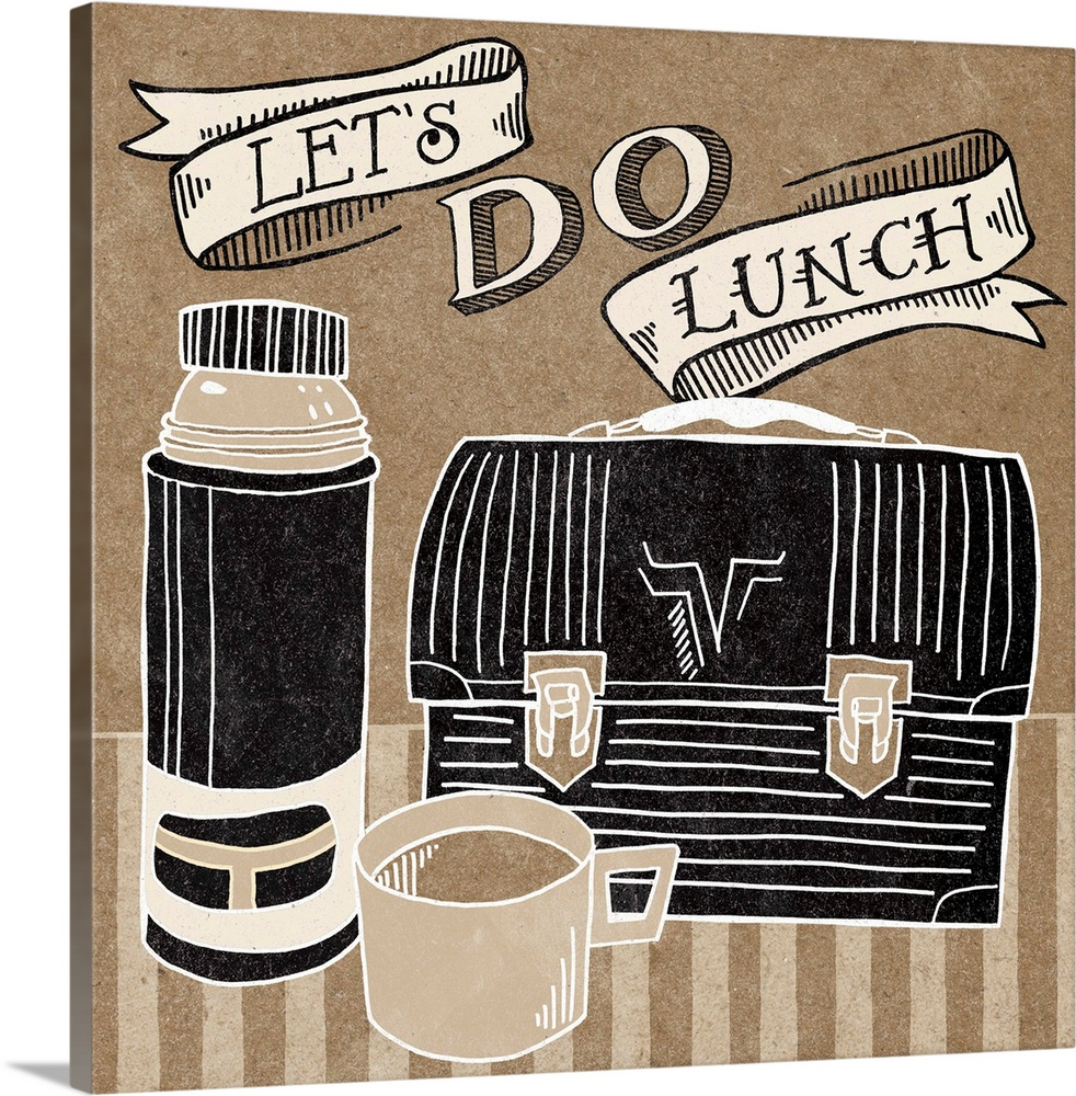 Large Solid-Faced Canvas Print Wall Art Print 20 x 20 entitled Let's Do Lunch Solid-Faced Canvas Print entitled Lets Do Lunch.  Retro style image of a metal lunchbox and thermos with handlettered text.  Multiple sizes available.  Primary colors within this image include Black, Gray, White.  Made in USA.  Satisfaction guaranteed.  Inks used are latex-based and designed to last.  Archival inks prevent fading and preserve as much fine detail as possible with no over-saturation or color shifting.  Canvas depth is 1.25 and includes a finished backing with pre-installed hanging hardware.