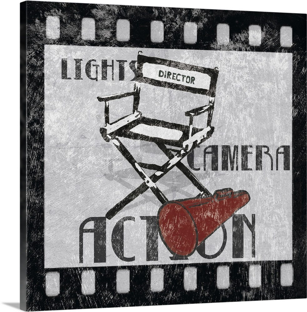 Large Gallery-Wrapped Canvas Wall Art Print 16 x 16 entitled Lights Camera Action Gallery-Wrapped Canvas entitled Lights Camera Action.  Multiple sizes available.  Primary colors within this image include Dark Red Black Silver.  Made in the USA.  Satisfaction guaranteed.  Inks used are latex-based and designed to last.  Canvas is designed to prevent fading.  Canvases have a UVB protection built in to protect against fading and moisture and are designed to last for over 100 years.