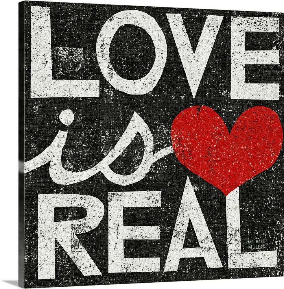 Large Solid-Faced Canvas Print Wall Art Print 20 x 20 entitled Love Is Real Square Solid-Faced Canvas Print entitled Love Is Real Square.  Multiple sizes available.  Primary colors within this image include Dark Red, Pink, Dark Gray, White.  Made in USA.  Satisfaction guaranteed.  Inks used are latex-based and designed to last.  Canvas depth is 1.25 and includes a finished backing with pre-installed hanging hardware.  Canvas is handcrafted and made-to-order in the United States using high quality artist-grade canvas.