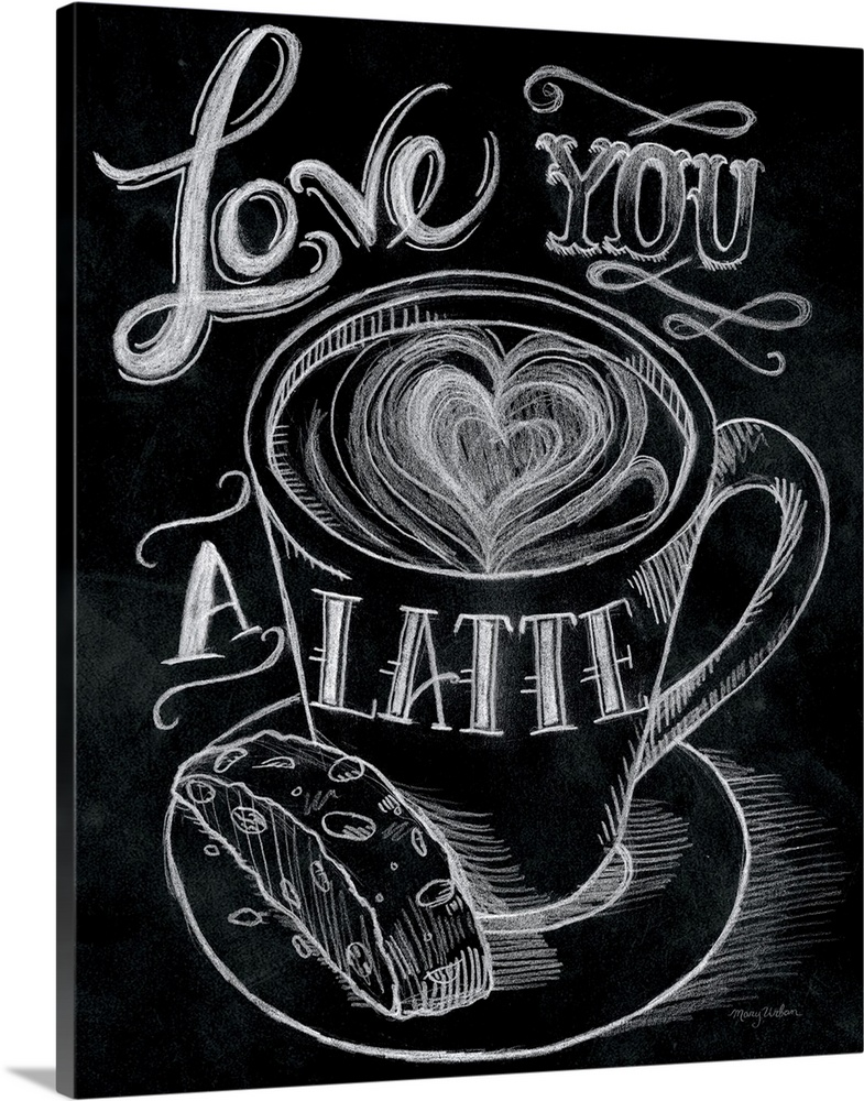 Large Solid-Faced Canvas Print Wall Art Print 24 x 30 entitled Love You a Latte Solid-Faced Canvas Print entitled Love You a Latte.  Multiple sizes available.  Primary colors within this image include Black, Light Gray.  Made in USA.  Satisfaction guaranteed.  Archival-quality UV-resistant inks.  Canvas depth is 1.25 and includes a finished backing with pre-installed hanging hardware.  Canvas is handcrafted and made-to-order in the United States using high quality artist-grade canvas.