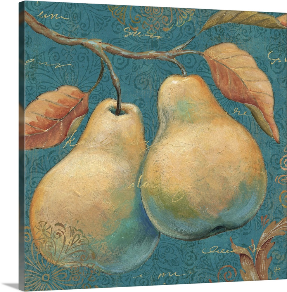 Large Solid-Faced Canvas Print Wall Art Print 20 x 20 entitled Lovely Fruits I Solid-Faced Canvas Print entitled Lovely Fruits I.  Multiple sizes available.  Primary colors within this image include Peach, Black, Gray Blue.  Made in the USA.  Satisfaction guaranteed.  Inks used are latex-based and designed to last.  Canvas is handcrafted and made-to-order in the United States using high quality artist-grade canvas.  Archival inks prevent fading and preserve as much fine detail as possible with no over-saturation or color shifting.