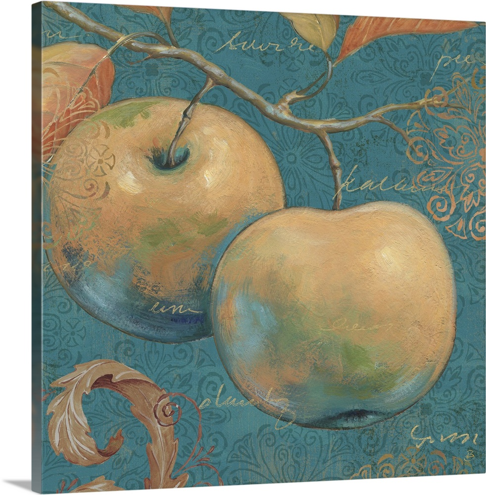 Large Solid-Faced Canvas Print Wall Art Print 20 x 20 entitled Lovely Fruits II Solid-Faced Canvas Print entitled Lovely Fruits II.  Multiple sizes available.  Primary colors within this image include Brown, Peach, Black, Gray.  Made in the USA.  All products come with a 365 day workmanship guarantee.  Archival-quality UV-resistant inks.  Featuring a proprietary design, our canvases produce the tightest corners without any bubbles, ripples, or bumps and will not warp or sag over time.  Archival inks prevent fading and preserve as much fine detail as possible with no over-saturation or color shifting.