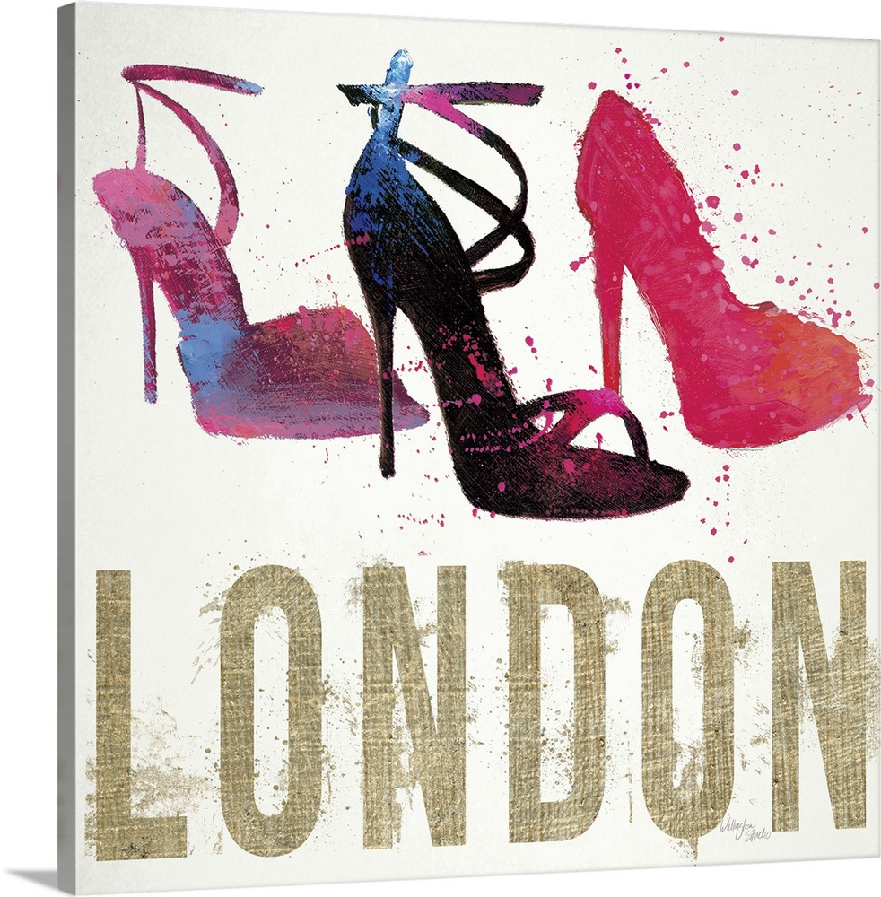 Large Solid-Faced Canvas Print Wall Art Print 20 x 20 entitled Moda Splash I Light Solid-Faced Canvas Print entitled Moda Splash I Light.  Design featuring three high-heeled shoes and the word London, done in a messy, spray-painted style.  Multiple sizes available.  Primary colors within this image include Plum, Black, Light Gray, White.  Made in USA.  Satisfaction guaranteed.  Archival-quality UV-resistant inks.  Featuring a proprietary design, our canvases produce the tightest corners without any bubbles, ripples, or bumps and will not warp or sag over time.  Canvas is handcrafted and made-to-order in the United States using high quality artist-grade canvas.