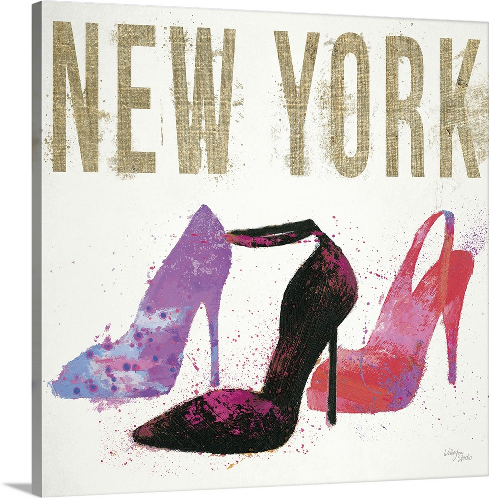 Large Solid-Faced Canvas Print Wall Art Print 20 x 20 entitled Moda Splash II Light Solid-Faced Canvas Print entitled Moda Splash II Light.  Design featuring three high-heeled shoes and the word New York, done in a messy, spray-painted style.  Multiple sizes available.  Primary colors within this image include Lilac, Dark Gray, Gray, White.  Made in the USA.  All products come with a 365 day workmanship guarantee.  Inks used are latex-based and designed to last.  Featuring a proprietary design, our canvases produce the tightest corners without any bubbles, ripples, or bumps and will not warp or sag over time.  Archival inks prevent fading and preserve as much fine detail as possible with no over-saturation or color shifting.