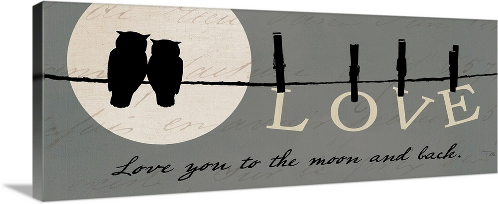 Large Gallery-Wrapped Canvas Wall Art Print 36 x 14 entitled Moon Lovers I Gallery-Wrapped Canvas entitled Moon Lovers I.  This panoramic piece shows a silhouette of two owls sitting on a wire in front of the moon with the word LOVE hanging from clothe pins on the wire.  Multiple sizes available.  Primary colors within this image include Black, Gray.  Made in USA.  All products come with a 365 day workmanship guarantee.  Inks used are latex-based and designed to last.  Canvas is acid-free and 20 millimeters thick.  Canvas frames are built with farmed or reclaimed domestic pine or poplar wood.