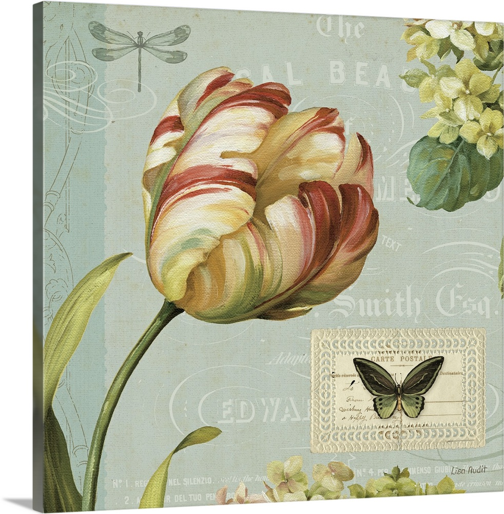 Large Gallery-Wrapped Canvas Wall Art Print 16 x 16 entitled Mothers Treasure I Gallery-Wrapped Canvas entitled Mothers Treasure I.  A decorative collage panel containing a tulip hydrangeas and a butterfly with antique text and flourishes.  Multiple sizes available.  Primary colors within this image include Brown Dark Yellow Black Silver.  Made in USA.  Satisfaction guaranteed.  Archival-quality UV-resistant inks.  Canvas frames are built with farmed or reclaimed domestic pine or poplar wood.  Canvases are stretched across a 1.5 inch thick wooden frame with easy-to-mount hanging hardware.