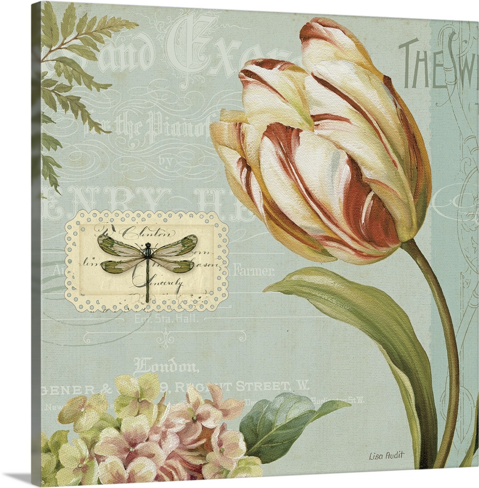 Large Gallery-Wrapped Canvas Wall Art Print 16 x 16 entitled Mothers Treasure II Gallery-Wrapped Canvas entitled Mothers Treasure II .  Docor perfect for the home of flower artwork that has a light blue background with different styles of text laid over it. There is a vintage stamp with a dragonfly beside the rose flower.  Multiple sizes available.  Primary colors within this image include Brown Dark Yellow Black Silver.  Made in USA.  Satisfaction guaranteed.  Inks used are latex-based and designed to last.  Canvases are stretched across a 1.5 inch thick wooden frame with easy-to-mount hanging hardware.  Canvas is designed to prevent fading.