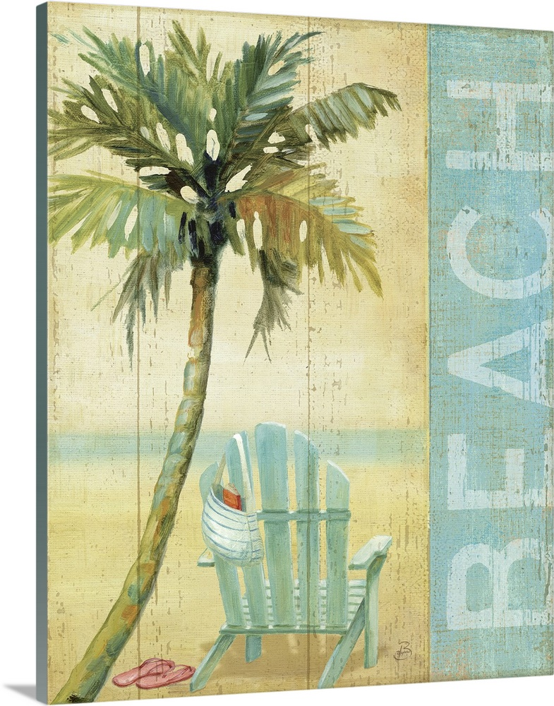 Large Gallery-Wrapped Canvas Wall Art Print 16 x 20 entitled Ocean Beach I Gallery-Wrapped Canvas entitled Ocean Beach I.  The piece has a wooden panel texture with a single palm tree and beach chair that has a bag hanging off it and sandals sitting on the sand.  Multiple sizes available.  Primary colors within this image include Dark Gray, Gray, White.  Made in the USA.  All products come with a 365 day workmanship guarantee.  Inks used are latex-based and designed to last.  Canvases have a UVB protection built in to protect against fading and moisture and are designed to last for over 100 years.  Museum-quality, artist-grade canvas mounted on sturdy wooden stretcher bars 1.5 thick.  Comes ready to hang.