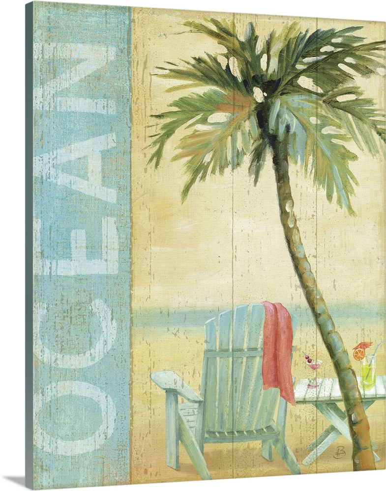 Large Gallery-Wrapped Canvas Wall Art Print 16 x 20 entitled Ocean Beach II Gallery-Wrapped Canvas entitled Ocean Beach II.  Artwork of beach chair and table on the shoreline with a palm tree in the foreground.  The text Ocean is written vertically down the left side of the image.  Multiple sizes available.  Primary colors within this image include Pink, Black, Light Gray, White.  Made in USA.  Satisfaction guaranteed.  Archival-quality UV-resistant inks.  Canvas is designed to prevent fading.  Museum-quality, artist-grade canvas mounted on sturdy wooden stretcher bars 1.5 thick.  Comes ready to hang.