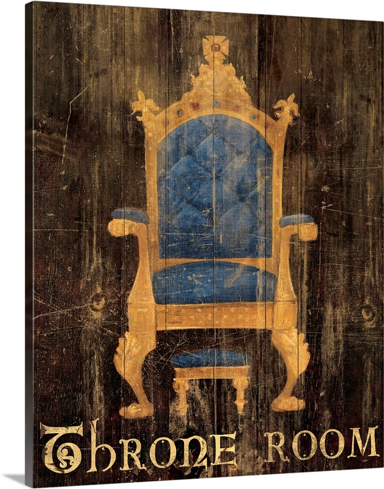 Large Gallery-Wrapped Canvas Wall Art Print 16 x 20 entitled Regal Throne Gallery-Wrapped Canvas entitled Regal Throne.  Decorative and humorous bathroom wall art of a plush fantasy or medieval style chair painted over distressed wooden planks and elegant type below that states oThrone Roomo.  Multiple sizes available.  Primary colors within this image include Brown, Black, Gray.  Made in the USA.  Satisfaction guaranteed.  Inks used are latex-based and designed to last.  Canvases have a UVB protection built in to protect against fading and moisture and are designed to last for over 100 years.  Museum-quality, artist-grade canvas mounted on sturdy wooden stretcher bars 1.5 thick.  Comes ready to hang.