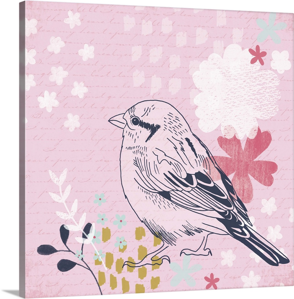 Large Solid-Faced Canvas Print Wall Art Print 20 x 20 entitled Sparrow I Solid-Faced Canvas Print entitled Sparrow I.  Decorative artwork for the home of a garden bird against a soft pink background with flowers.  Multiple sizes available.  Primary colors within this image include Pink, Peach, Gray, Silver.  Made in the USA.  All products come with a 365 day workmanship guarantee.  Archival-quality UV-resistant inks.  Archival inks prevent fading and preserve as much fine detail as possible with no over-saturation or color shifting.  Canvas depth is 1.25 and includes a finished backing with pre-installed hanging hardware.
