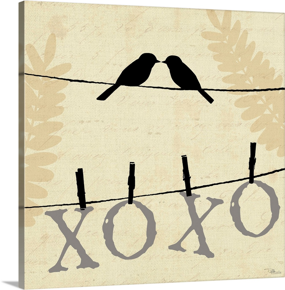 Large Solid-Faced Canvas Print Wall Art Print 20 x 20 entitled Sweet Tweets III Solid-Faced Canvas Print entitled Sweet Tweets III.  Contemporary artwork of two birds silhouetted on a cloths line, with the letters XOXO hanging from the line underneath them.  Multiple sizes available.  Primary colors within this image include Black, White.  Made in USA.  All products come with a 365 day workmanship guarantee.  Archival-quality UV-resistant inks.  Canvas depth is 1.25 and includes a finished backing with pre-installed hanging hardware.  Featuring a proprietary design, our canvases produce the tightest corners without any bubbles, ripples, or bumps and will not warp or sag over time.