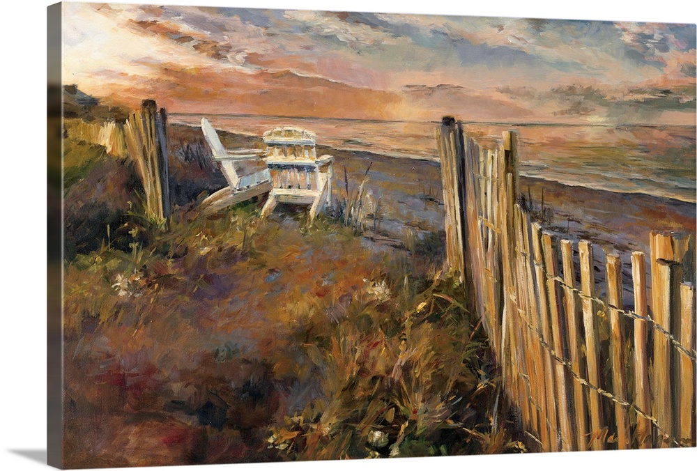 Large Gallery-Wrapped Canvas Wall Art Print 24 x 16 entitled The Beach at Sunset Gallery-Wrapped Canvas entitled The Beach at Sunset.  A contemporary impressionistic painting of Adirondack chairs on dune looking out to sea.  Multiple sizes available.  Primary colors within this image include Black, White, Dark Forest Green.  Made in the USA.  Satisfaction guaranteed.  Archival-quality UV-resistant inks.  Canvas is a 65 polyester, 35 cotton base, with two acrylic latex primer basecoats and a semi-gloss inkjet receptive topcoat.  Canvases are stretched across a 1.5 inch thick wooden frame with easy-to-mount hanging hardware.