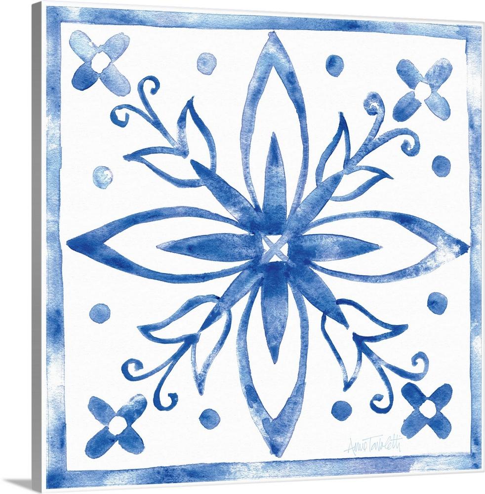Solid-Faced Canvas drucken wand kunst entitled Tile Stencil I Blau
