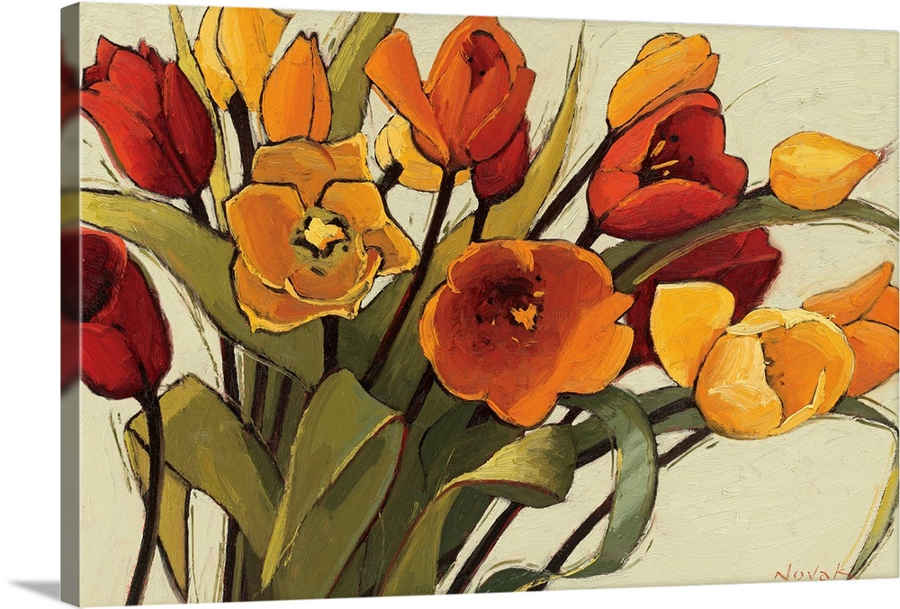 Large Solid-Faced Canvas Print Wall Art Print 30 x 20 entitled Tulip Time Solid-Faced Canvas Print entitled Tulip Time.  A horizontal painting that is a close up of a floral arrangement with warm, sunshiny colors.  Multiple sizes available.  Primary colors within this image include Brown, Light Yellow, Silver.  Made in the USA.  Satisfaction guaranteed.  Inks used are latex-based and designed to last.  Archival inks prevent fading and preserve as much fine detail as possible with no over-saturation or color shifting.  Featuring a proprietary design, our canvases produce the tightest corners without any bubbles, ripples, or bumps and will not warp or sag over time.