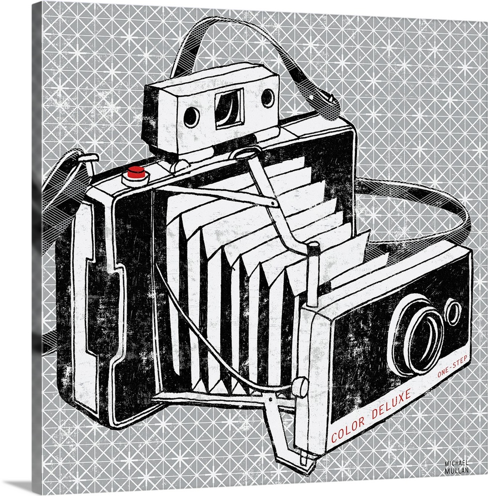 Large Gallery-Wrapped Canvas Wall Art Print 16 x 16 entitled Vintage Analog Camera Gallery-Wrapped Canvas entitled Vintage Analog Camera.  Multiple sizes available.  Primary colors within this image include Black Gray White.  Made in USA.  All products come with a 365 day workmanship guarantee.  Inks used are latex-based and designed to last.  Canvas is acid-free and 20 millimeters thick.  Canvases are stretched across a 1.5 inch thick wooden frame with easy-to-mount hanging hardware.