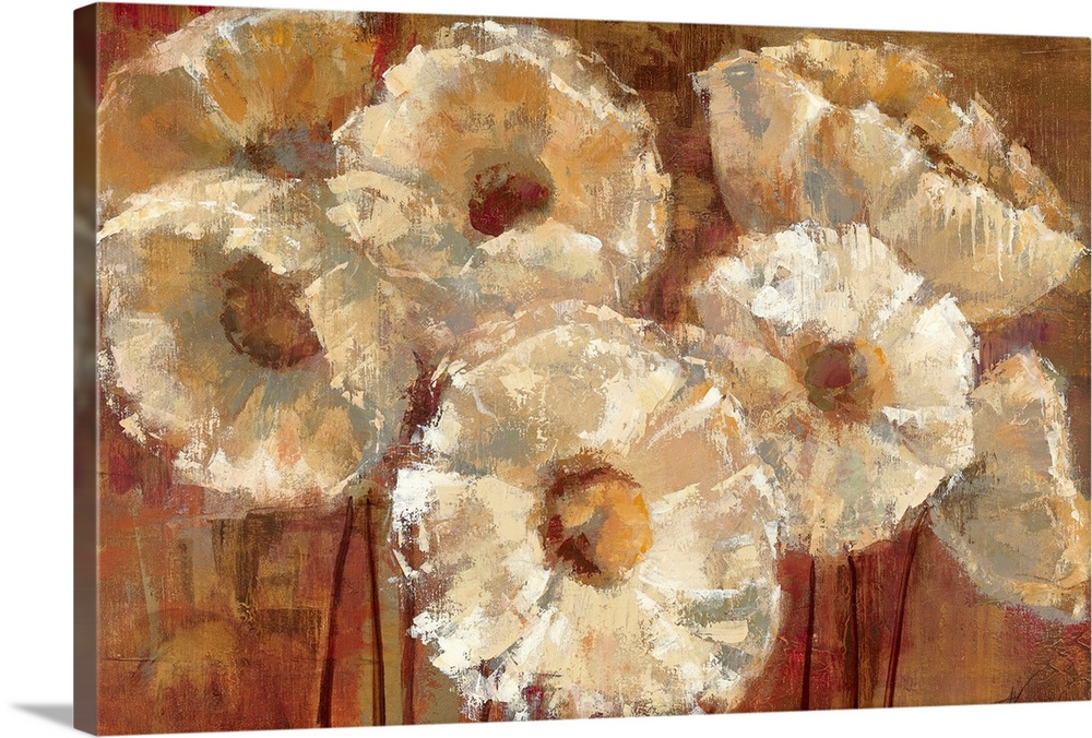 Large Solid-Faced Canvas Print Wall Art Print 30 x 20 entitled Waltzing Poppies Solid-Faced Canvas Print entitled Waltzing Poppies.  A horizontal painting of abstract flowers the petals are defined by high lights and shadows created with layers and bold textures.  Multiple sizes available.  Primary colors within this image include Brown, Peach, Black.  Made in the USA.  All products come with a 365 day workmanship guarantee.  Inks used are latex-based and designed to last.  Archival inks prevent fading and preserve as much fine detail as possible with no over-saturation or color shifting.  Canvas is handcrafted and made-to-order in the United States using high quality artist-grade canvas.