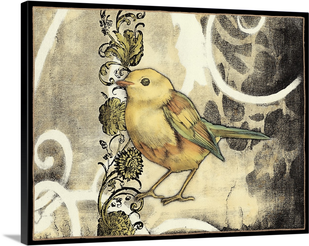 Large Solid-Faced Canvas Print Wall Art Print 30 x 24 entitled Bird Song II Solid-Faced Canvas Print entitled Bird Song II.  Contemporary home decor artwork of a yellow garden bird.  Multiple sizes available.  Primary colors within this image include Peach, Black, Gray.  Made in the USA.  All products come with a 365 day workmanship guarantee.  Inks used are latex-based and designed to last.  Archival inks prevent fading and preserve as much fine detail as possible with no over-saturation or color shifting.  Featuring a proprietary design, our canvases produce the tightest corners without any bubbles, ripples, or bumps and will not warp or sag over time.