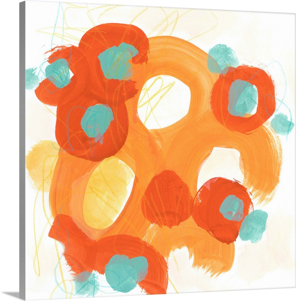 Large Gallery-Wrapped Canvas Wall Art Print 16 x 16 entitled Bright Idea II Gallery-Wrapped Canvas entitled Bright Idea II.  Mid-century inspired abstract painting of broad orange strokes against a neutral background.  Multiple sizes available.  Primary colors within this image include Peach Black White.  Made in USA.  Satisfaction guaranteed.  Archival-quality UV-resistant inks.  Canvases are stretched across a 1.5 inch thick wooden frame with easy-to-mount hanging hardware.  Canvas frames are built with farmed or reclaimed domestic pine or poplar wood.