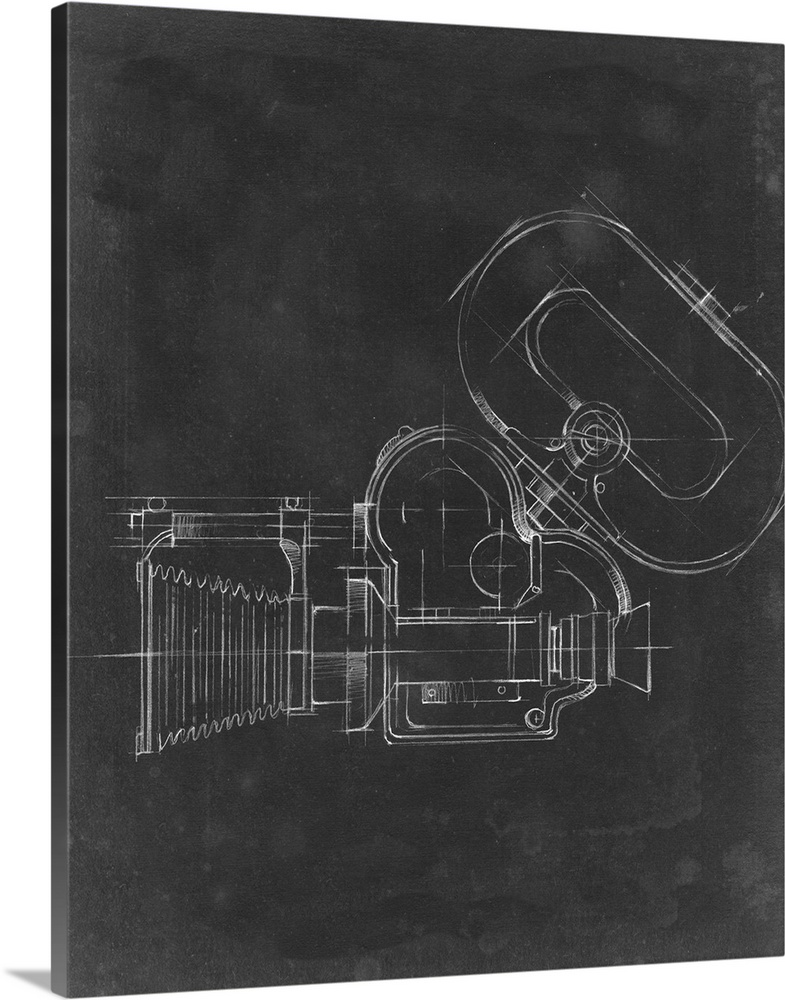 Large Solid-Faced Canvas Print Wall Art Print 24 x 30 entitled Camera Blueprint V Solid-Faced Canvas Print entitled Camera Blueprint V.  Contemporary blueprint style artwork of a film camera.  Multiple sizes available.  Primary colors within this image include Dark Gray, Silver.  Made in the USA.  Satisfaction guaranteed.  Inks used are latex-based and designed to last.  Archival inks prevent fading and preserve as much fine detail as possible with no over-saturation or color shifting.  Canvas is handcrafted and made-to-order in the United States using high quality artist-grade canvas.