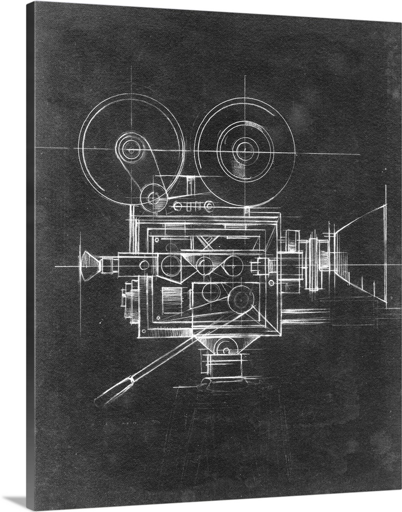 Large Solid-Faced Canvas Print Wall Art Print 24 x 30 entitled Camera Blueprints II Solid-Faced Canvas Print entitled Camera Blueprints II.  Contemporary home decor artwork of a chalkboard style technical drawings of cameras.  Multiple sizes available.  Primary colors within this image include Dark Gray, Silver.  Made in the USA.  All products come with a 365 day workmanship guarantee.  Archival-quality UV-resistant inks.  Archival inks prevent fading and preserve as much fine detail as possible with no over-saturation or color shifting.  Canvas depth is 1.25 and includes a finished backing with pre-installed hanging hardware.
