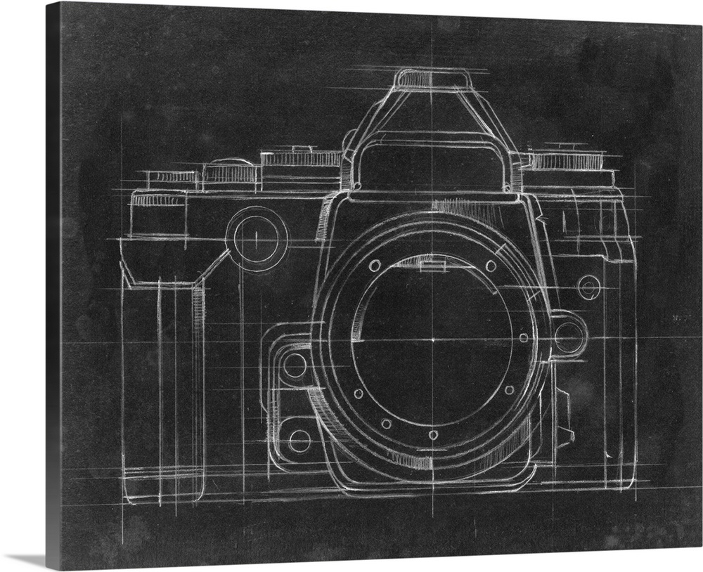 Large Solid-Faced Canvas Print Wall Art Print 30 x 24 entitled Camera Blueprints IV Solid-Faced Canvas Print entitled Camera Blueprints IV.  Contemporary home decor artwork of a chalkboard style technical drawings of cameras.  Multiple sizes available.  Primary colors within this image include Dark Gray, Light Gray.  Made in USA.  Satisfaction guaranteed.  Inks used are latex-based and designed to last.  Featuring a proprietary design, our canvases produce the tightest corners without any bubbles, ripples, or bumps and will not warp or sag over time.  Archival inks prevent fading and preserve as much fine detail as possible with no over-saturation or color shifting.