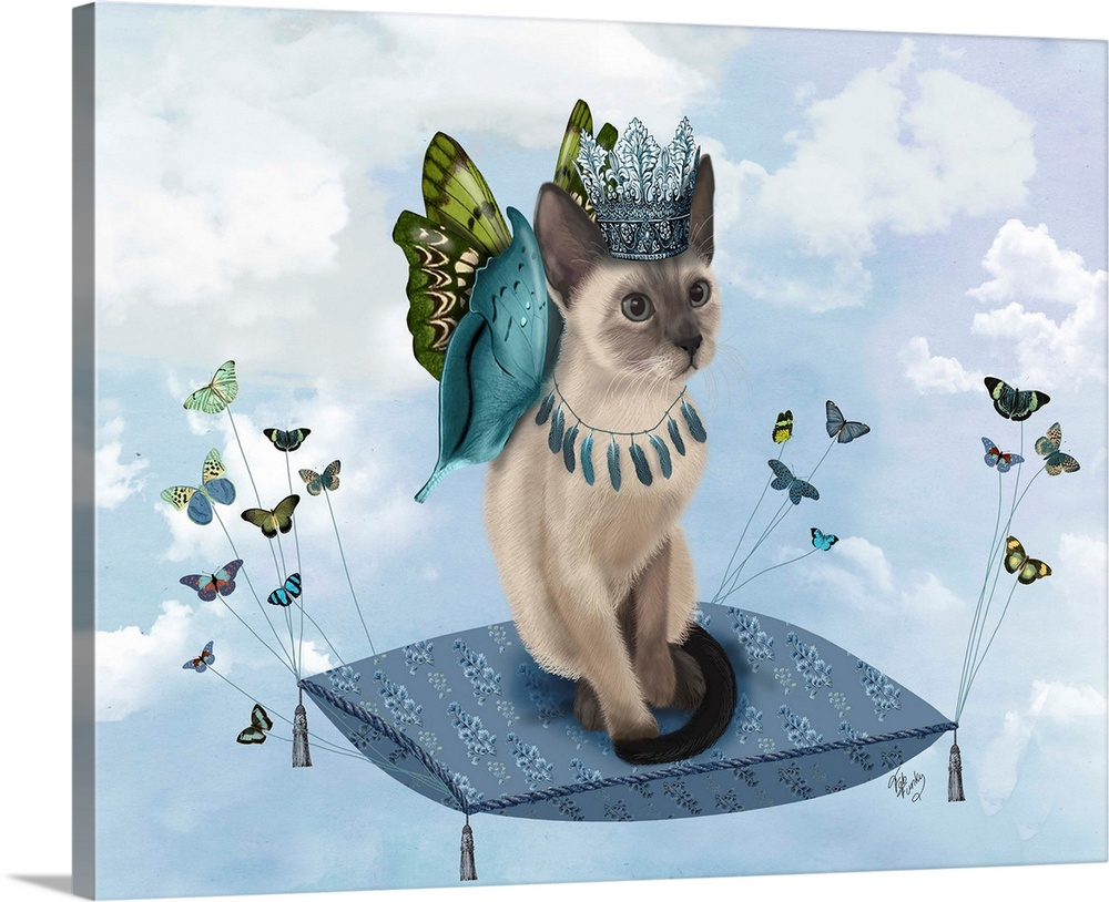 Large Solid-Faced Canvas Print Wall Art Print 30 x 24 entitled Cat on Pillow with Butterflies Solid-Faced Canvas Print entitled Cat on Pillow with Butterflies.  A cat with butterfly wings sitting on a pillow, flying through the sky.  Multiple sizes available.  Primary colors within this image include Brown, White, Dark Forest Green, Gray Blue.  Made in USA.  All products come with a 365 day workmanship guarantee.  Archival-quality UV-resistant inks.  Archival inks prevent fading and preserve as much fine detail as possible with no over-saturation or color shifting.  Canvas depth is 1.25 and includes a finished backing with pre-installed hanging hardware.