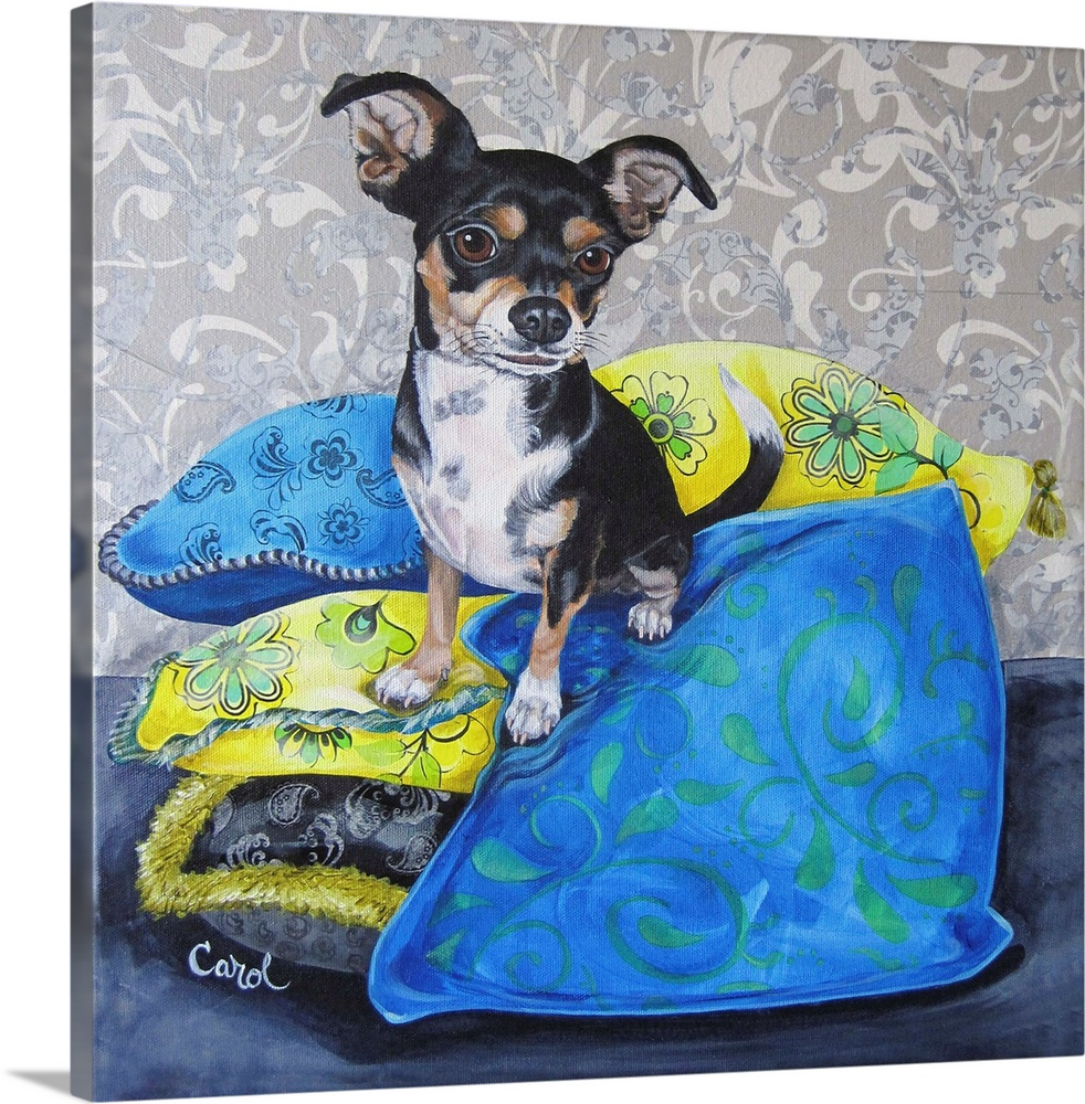 Large Solid-Faced Canvas Print Wall Art Print 20 x 20 entitled Chihuahua Pillows II Solid-Faced Canvas Print entitled Chihuahua Pillows II.  Multiple sizes available.  Primary colors within this image include Light Yellow, Silver, Royal Blue, Gray Blue.  Made in USA.  All products come with a 365 day workmanship guarantee.  Archival-quality UV-resistant inks.  Featuring a proprietary design, our canvases produce the tightest corners without any bubbles, ripples, or bumps and will not warp or sag over time.  Archival inks prevent fading and preserve as much fine detail as possible with no over-saturation or color shifting.