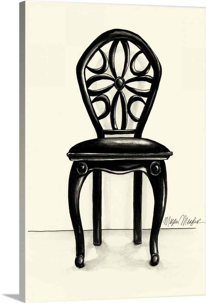 Large Solid-Faced Canvas Print Wall Art Print 20 x 30 entitled Designer Chair II Solid-Faced Canvas Print entitled Designer Chair II.  Multiple sizes available.  Primary colors within this image include Black, Gray, White.  Made in USA.  Satisfaction guaranteed.  Archival-quality UV-resistant inks.  Canvas depth is 1.25 and includes a finished backing with pre-installed hanging hardware.  Canvas is handcrafted and made-to-order in the United States using high quality artist-grade canvas.
