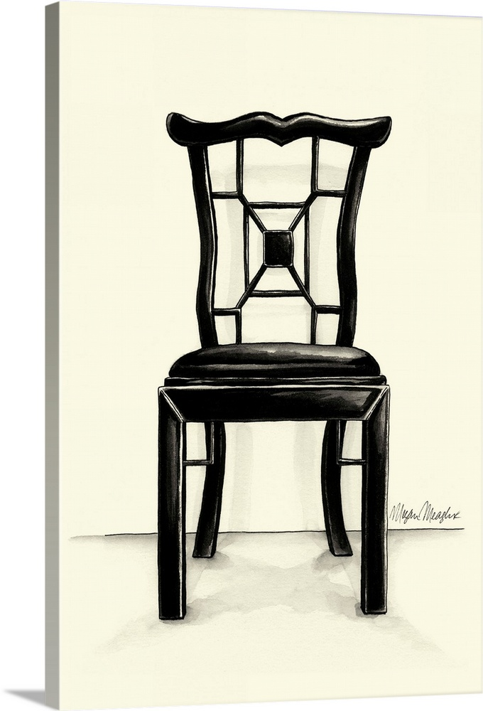 Large Solid-Faced Canvas Print Wall Art Print 20 x 30 entitled Designer Chair III Solid-Faced Canvas Print entitled Designer Chair III.  Multiple sizes available.  Primary colors within this image include Black, Gray, White.  Made in USA.  Satisfaction guaranteed.  Archival-quality UV-resistant inks.  Canvas is handcrafted and made-to-order in the United States using high quality artist-grade canvas.  Archival inks prevent fading and preserve as much fine detail as possible with no over-saturation or color shifting.